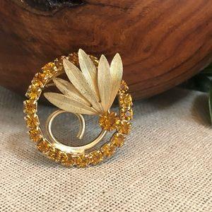 Vintage Topaz Color Rhinestone Circle Leaf Brooch